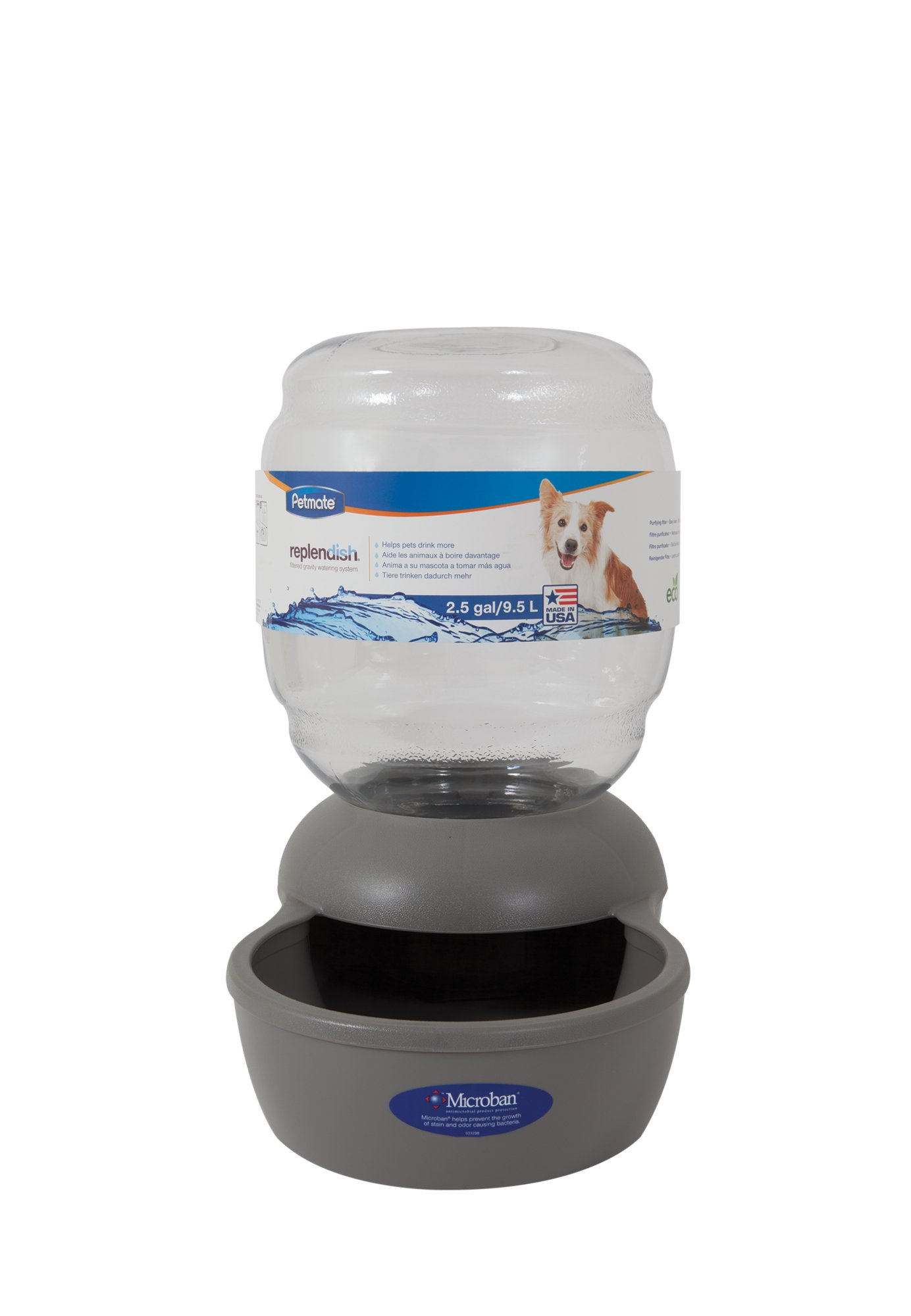 Petmate Replendish Gravity Waterer Grey Dog Bowl