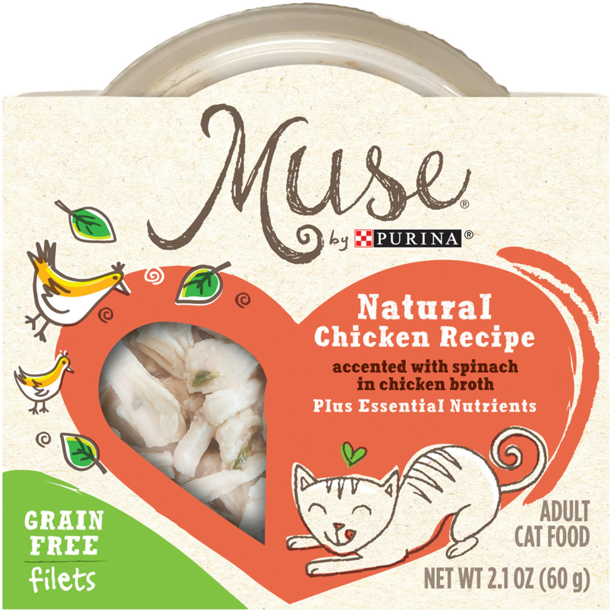 Muse by Purina Natural Chicken Recipe Accented with Spinach in Chicken Broth Cat Food