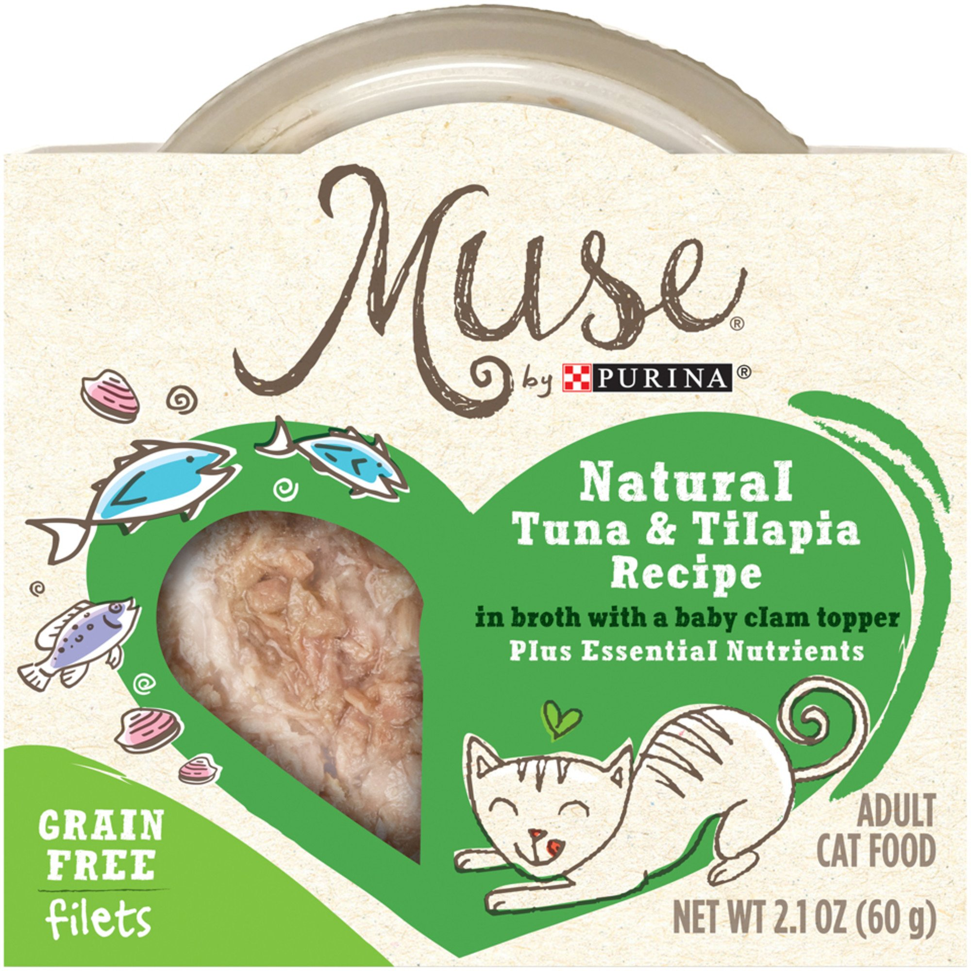 Muse by Purina Natural Tuna & Tilapia Recipe In Broth with a Baby Clam Topper Cat Food