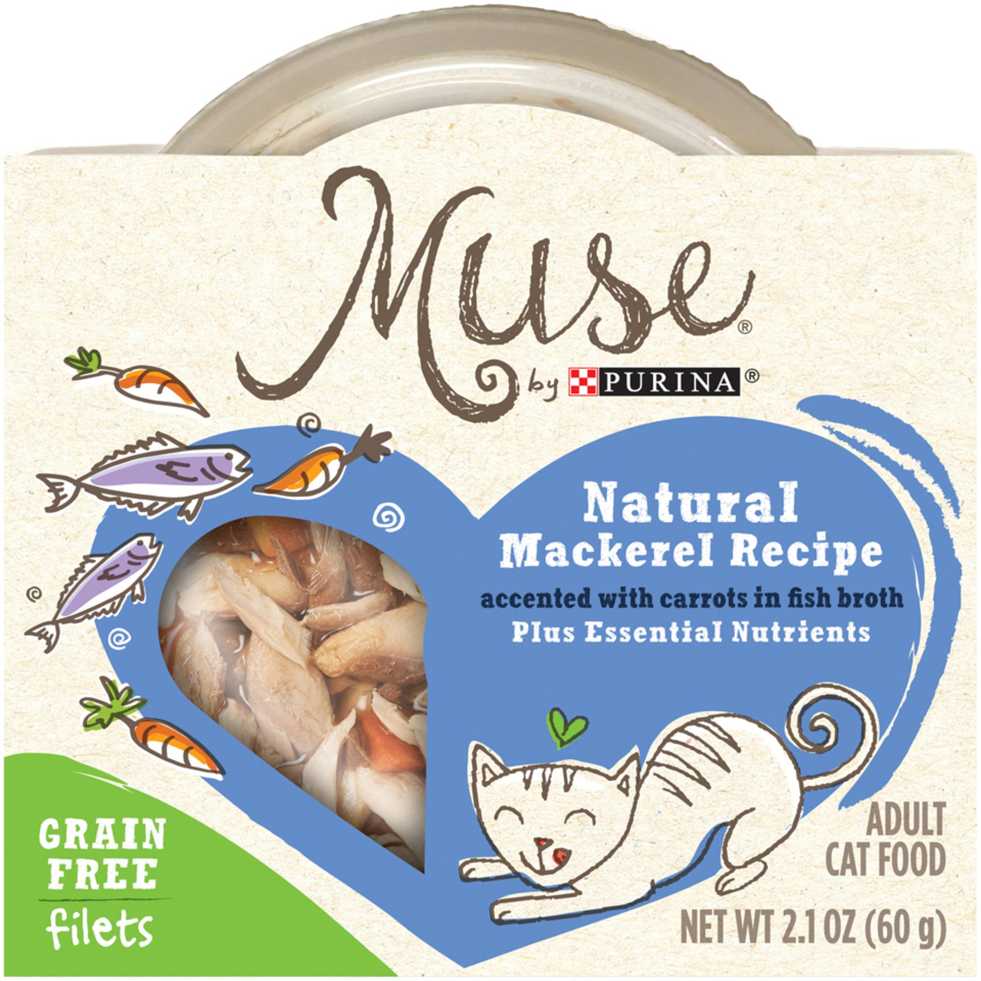 Muse by Purina Natural Mackerel Recipe Accented with Carrots In Fish Broth Cat Food