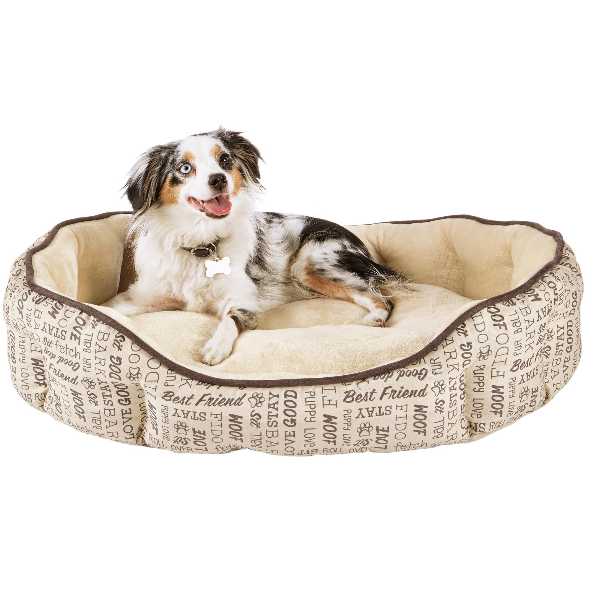 Harmony Woof Printed Cuddler Dog Bed