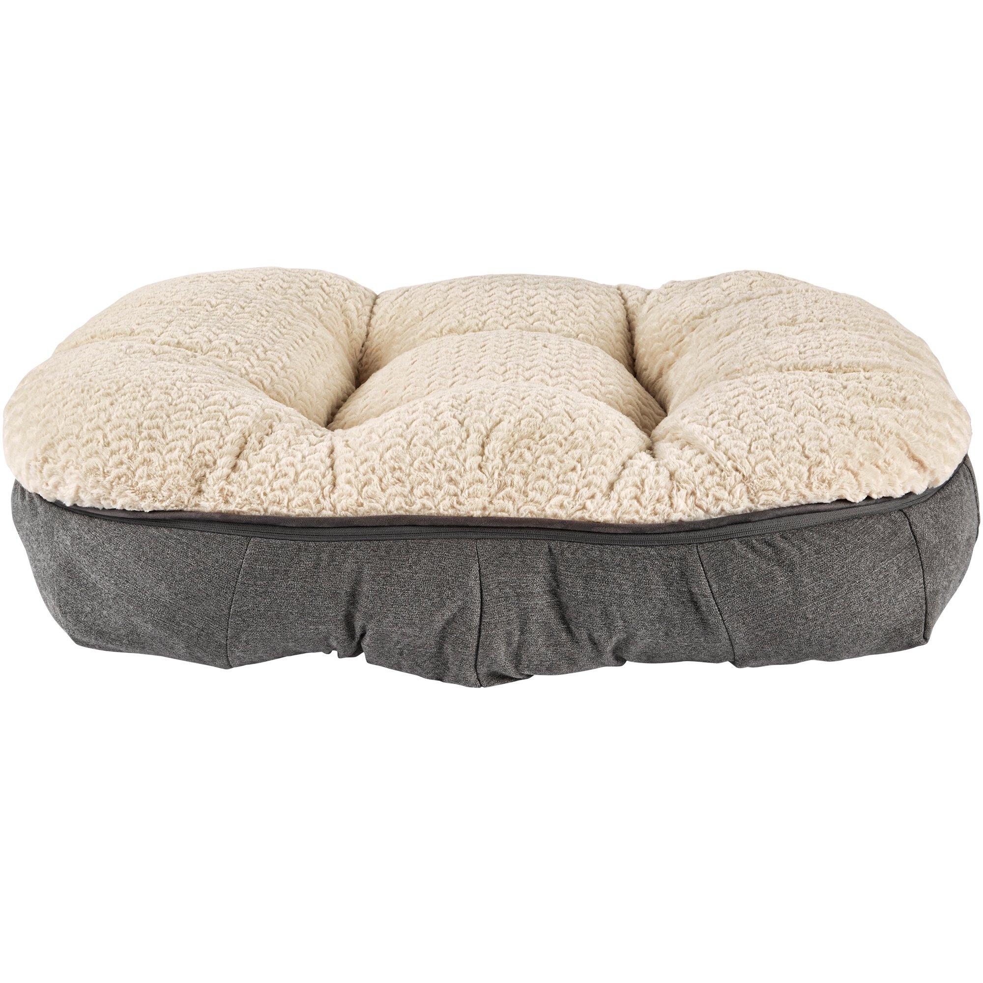 Harmony Grey Plush Lounger Memory Foam Dog Bed