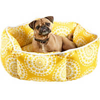 Harmony Yellow Medallion Print Cuddler Dog Bed