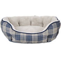 Harmony Nester Dog Bed in Blue Plaid