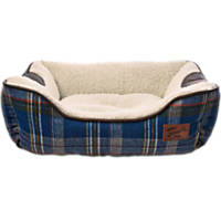 Bond & Co. Heritage Blue Plaid Bolster Dog Bed
