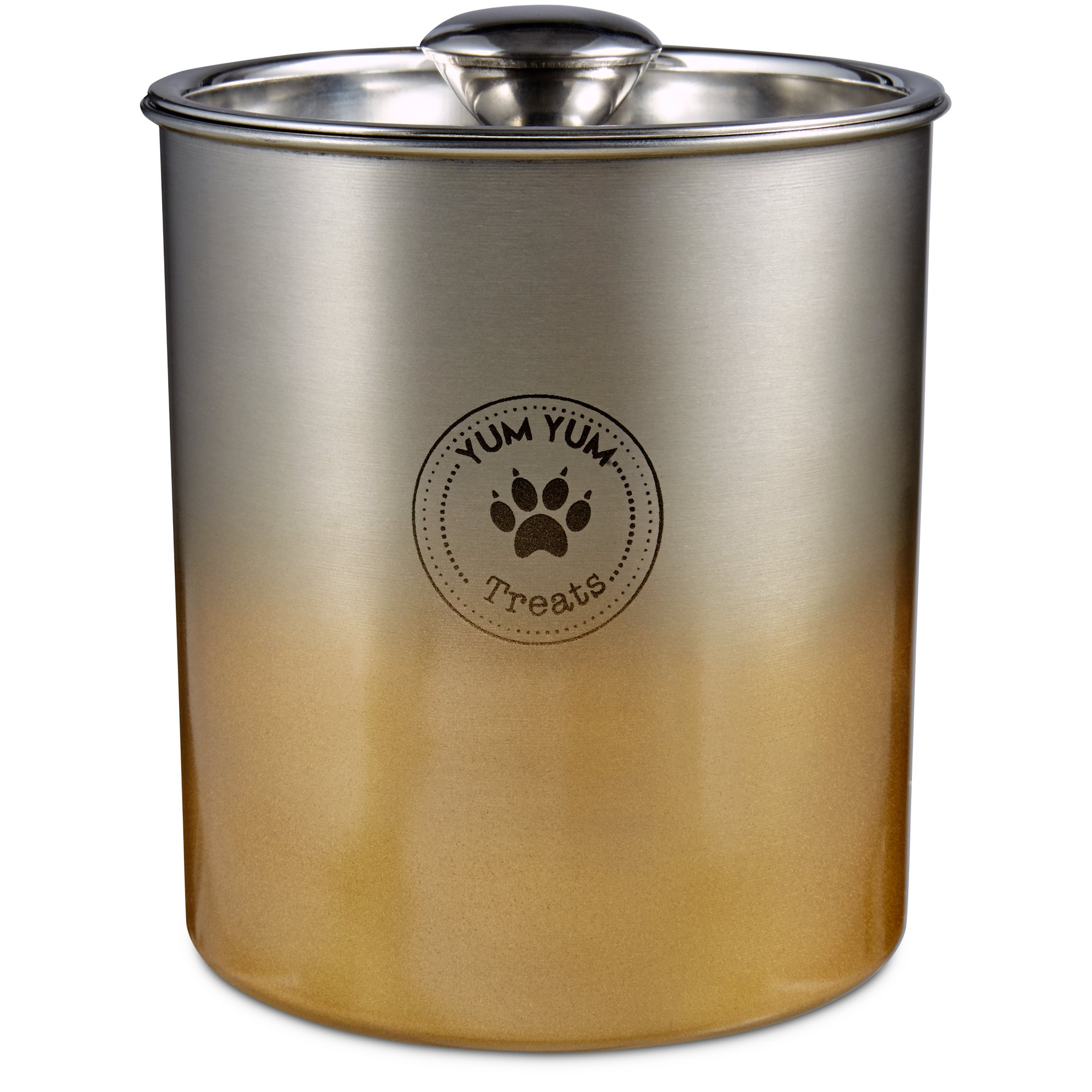 Harmony Stainless Steel Gold Ombre Dog Treat Jar