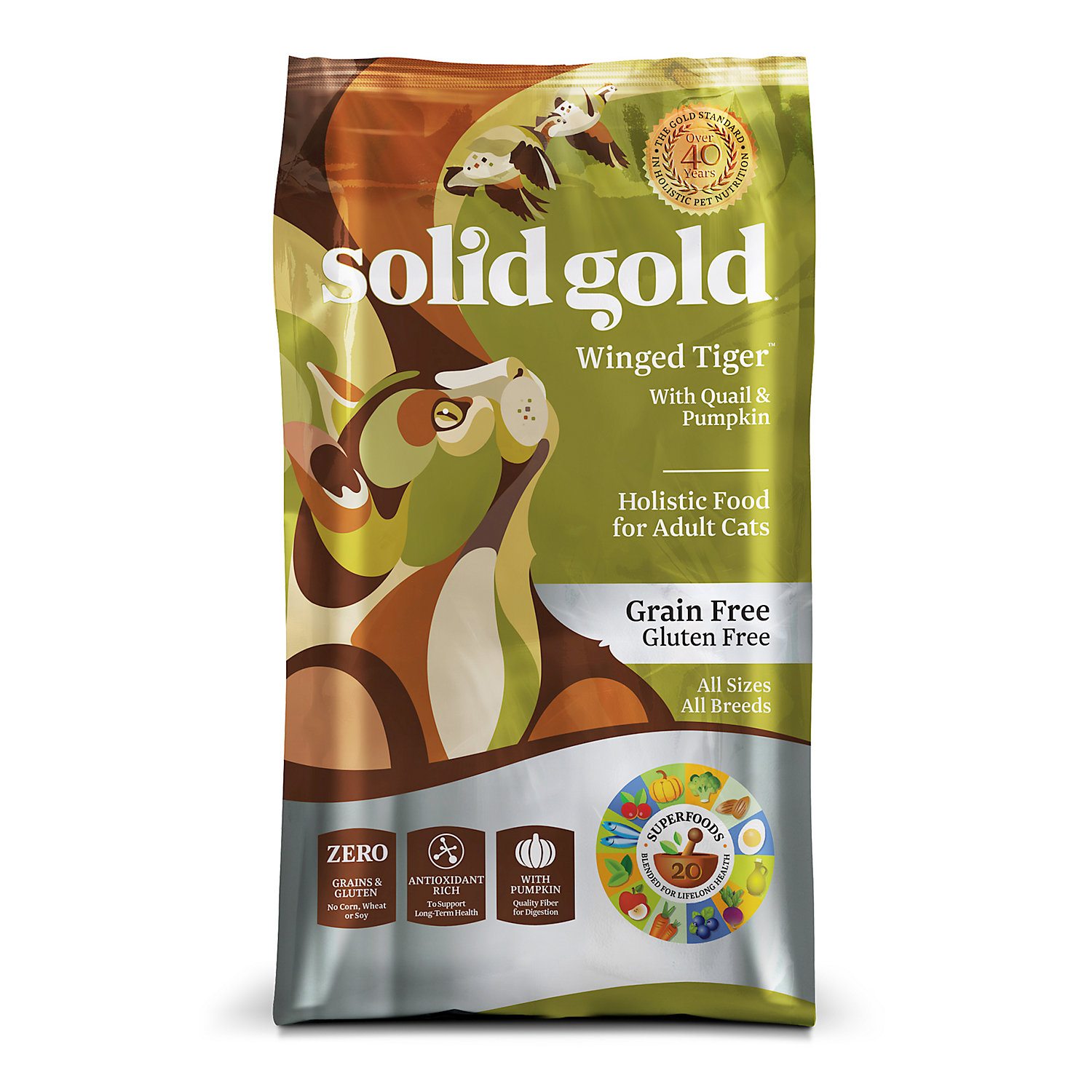Solid Gold Winged Tiger Quail & Pumpkin Adult Dry Cat Food,