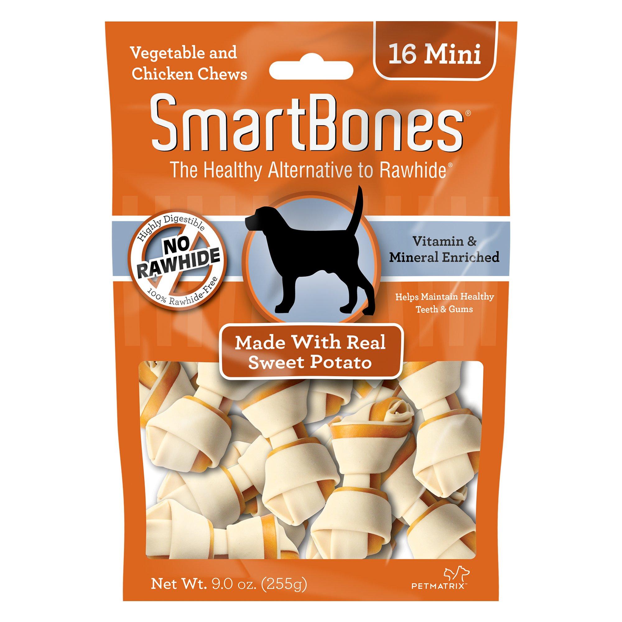 SmartBones NO-RAWHIDE Sweet Potato Mini Dog Chews