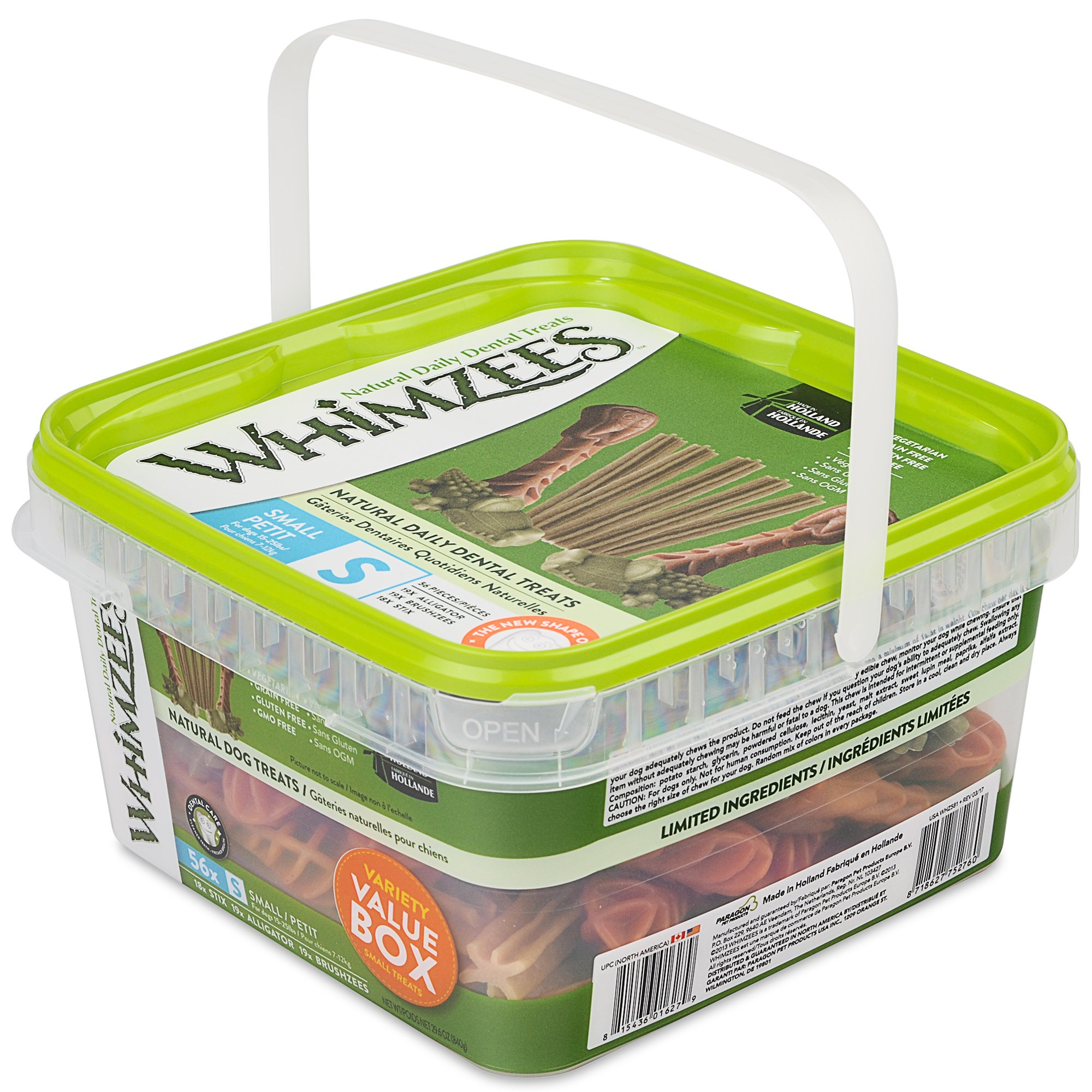 Whimzees Small Variety Dog Treats Container