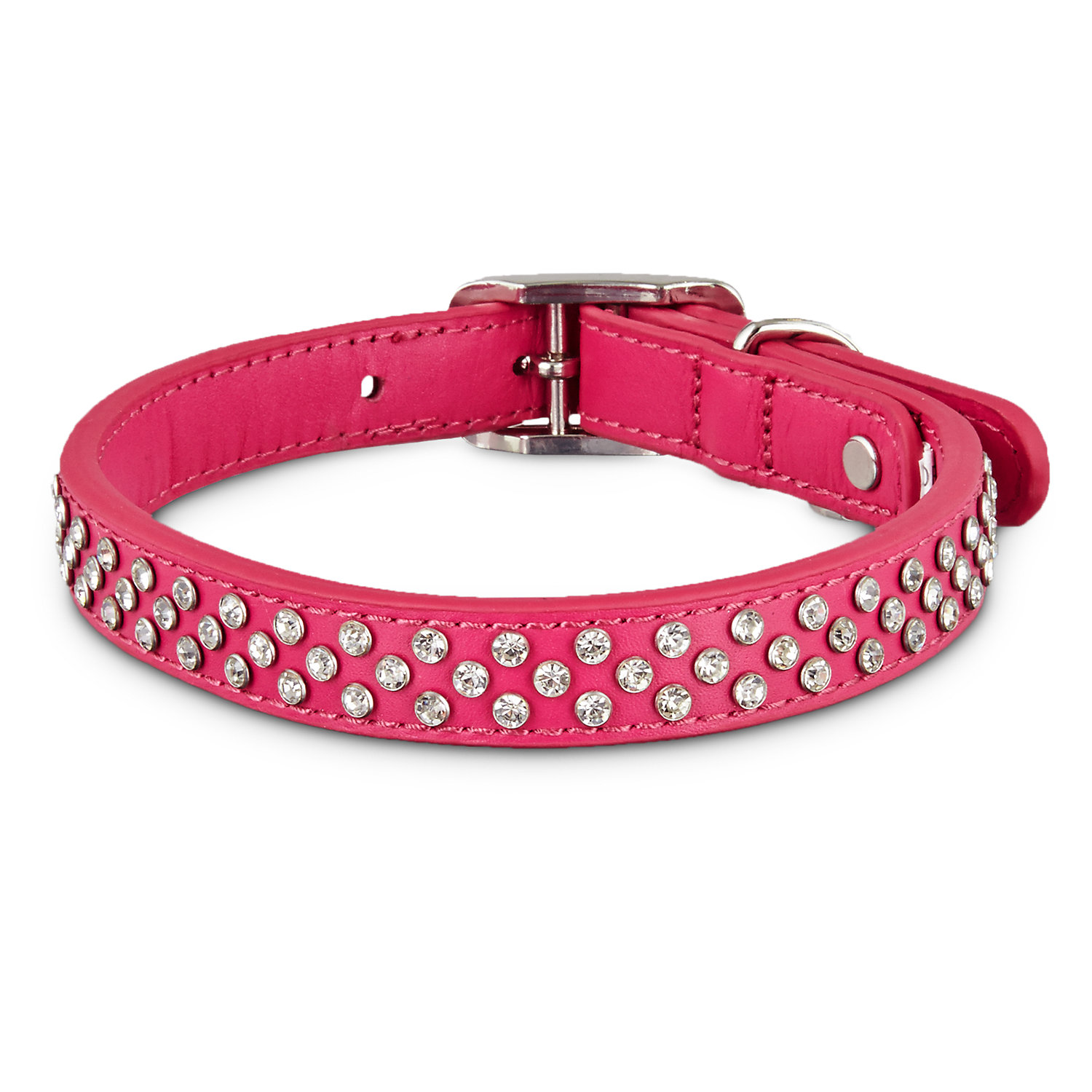 Bond & Co. Leather Bling Pink Dog Collar, For Neck Sizes 15-