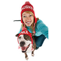 Time for Joy Red and White Naughty Nice Pet and Pet Parent Knit Hat Set