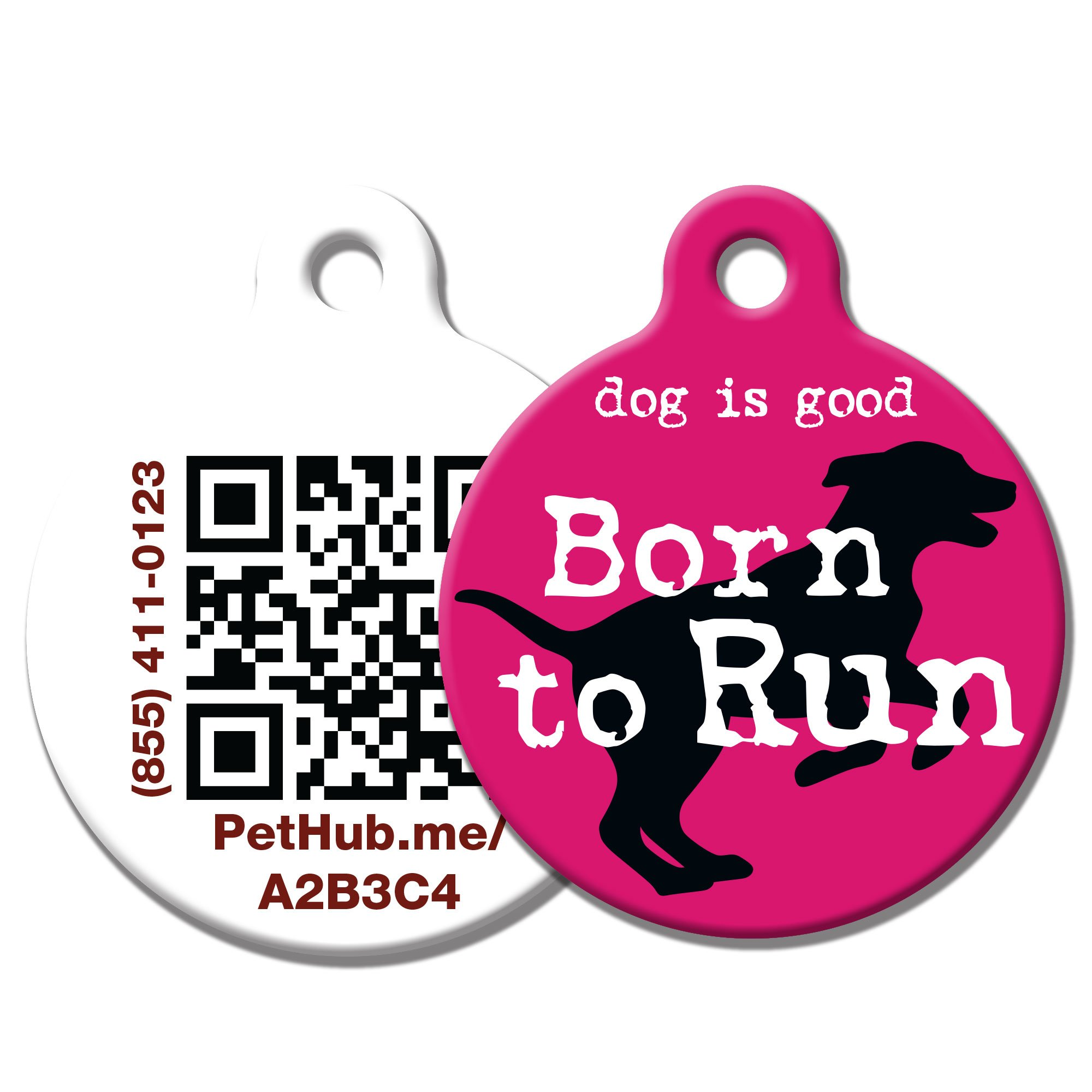 PetHub Recycled Steel Pet ID Tag, Pink Born to Run
