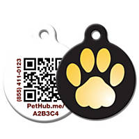 PetHub Recycled Steel Pet ID Tag, Small Gold Paw