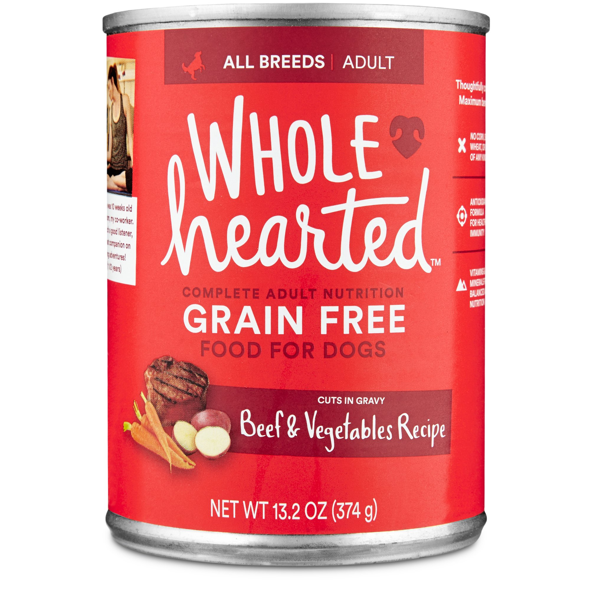 WholeHearted Adult Dog Food - Grain Free Beef & Vegetables Canned Cuts in Gravy