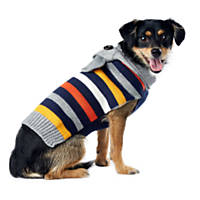 Wag-A-Tude Navy and Grey Multi Stripe Scarf Sweater