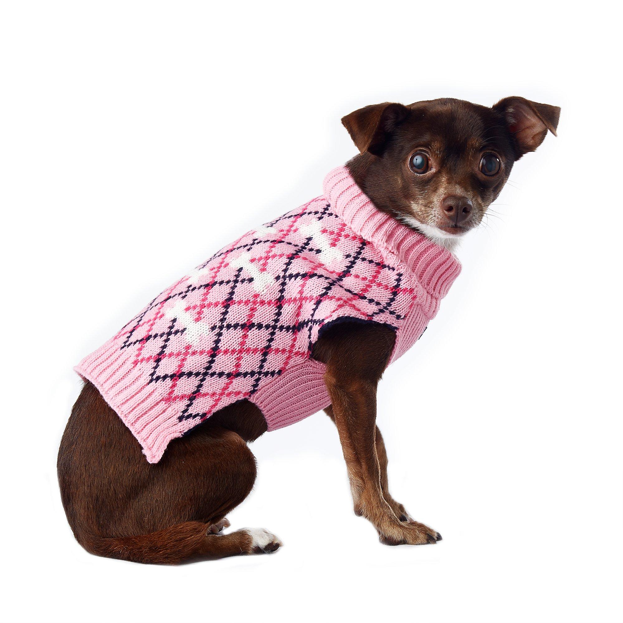 Pup Crew Pink Bone Argyle Sweater