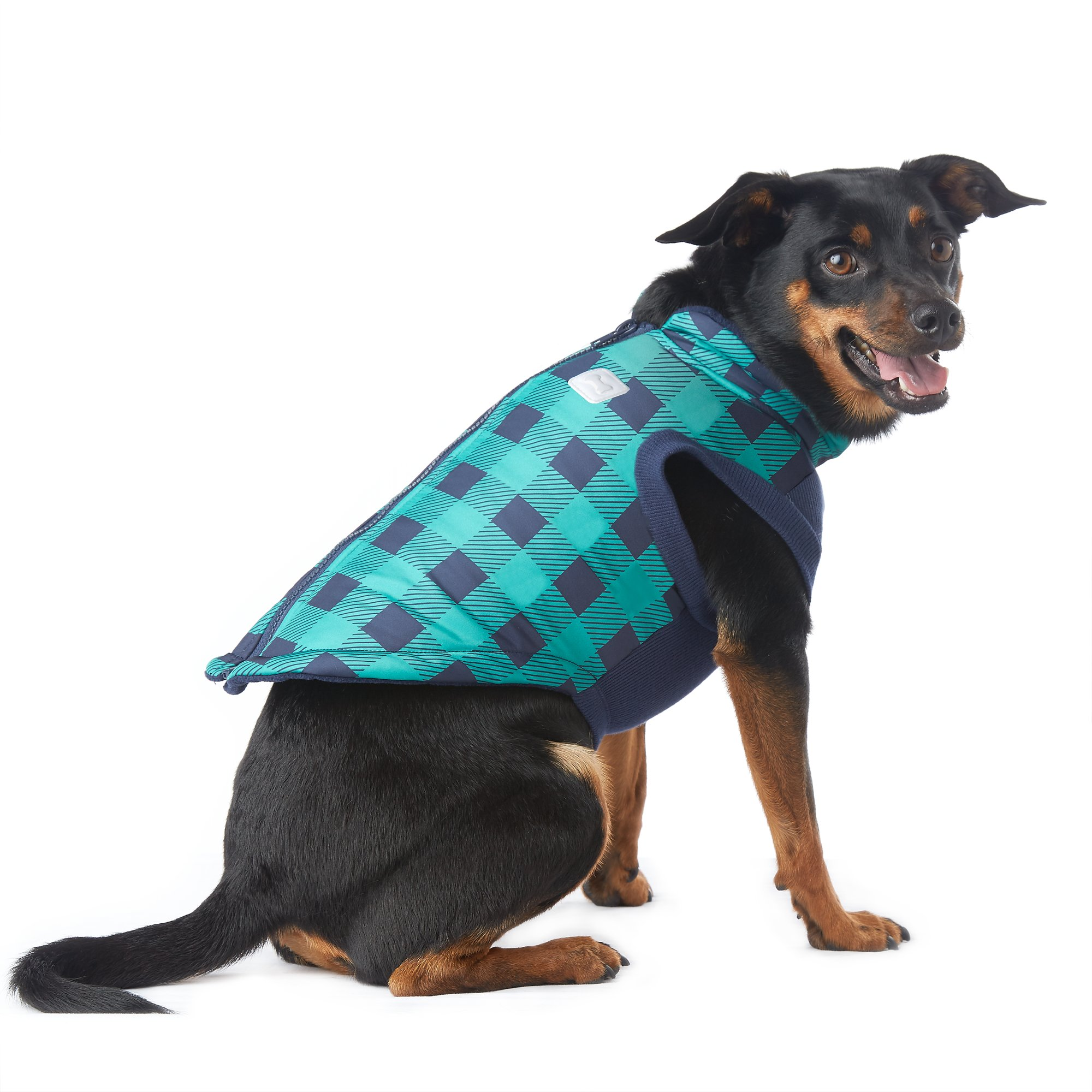 Pup Crew Green and Navy Checkered Bomber Jacket