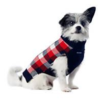 Pup Crew Navy and Red Buffalo Plaid Pocket Sweater