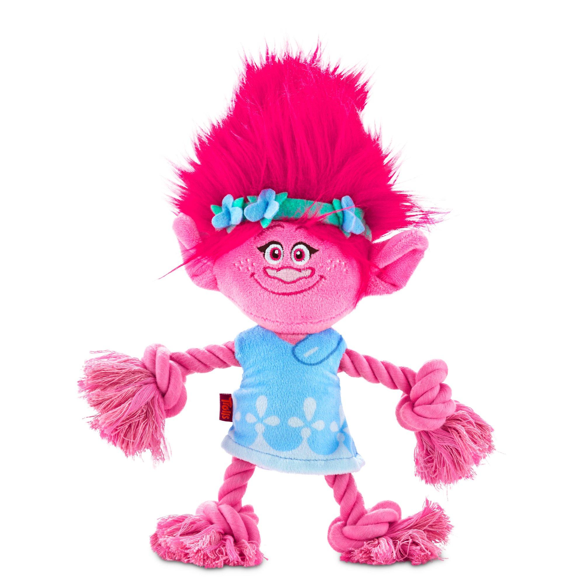 Trolls Poppy Plush with Rope Dog Toy
