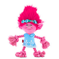 Trolls Poppy Plush with Rope Dog Toy