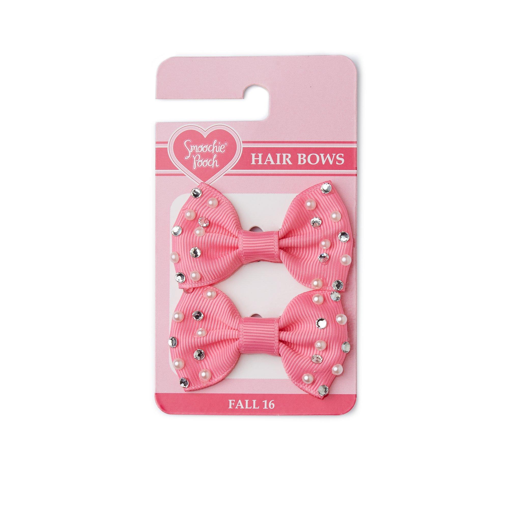 Smoochie Pooch Pink Pearl Rhinestone Bows