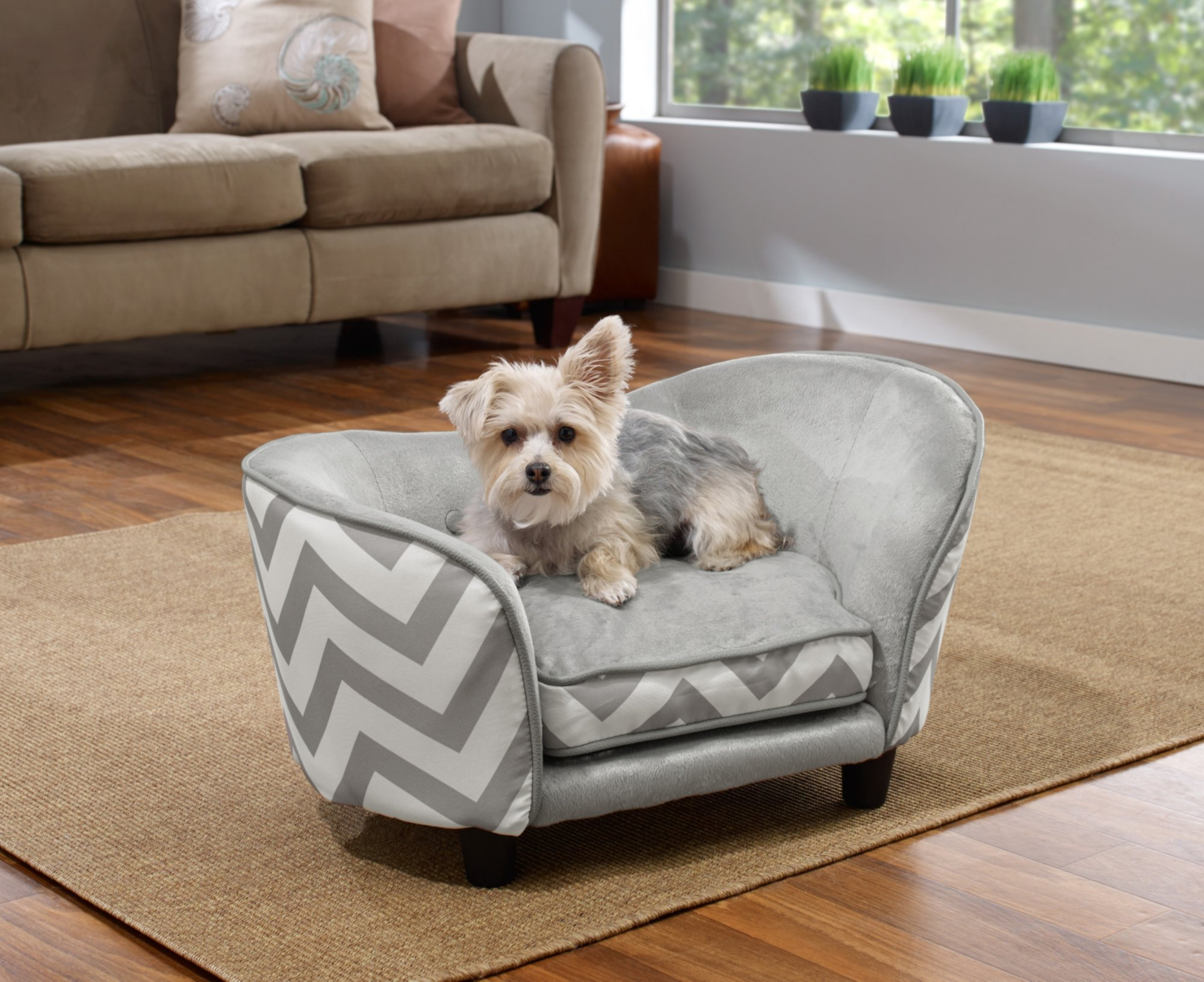 Enchanted Home Pet Grey Chevron Ultra Plush Snuggle Pet Bed