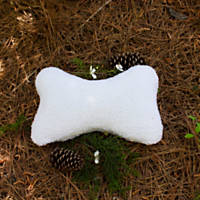 Carolina Pet Company White Plush Bone Dog Pillow/Toy