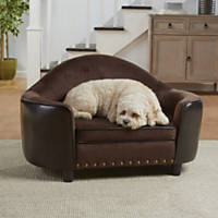 Enchanted Home Pet Brown Caldwell Headboard Pet Sofa with Storage