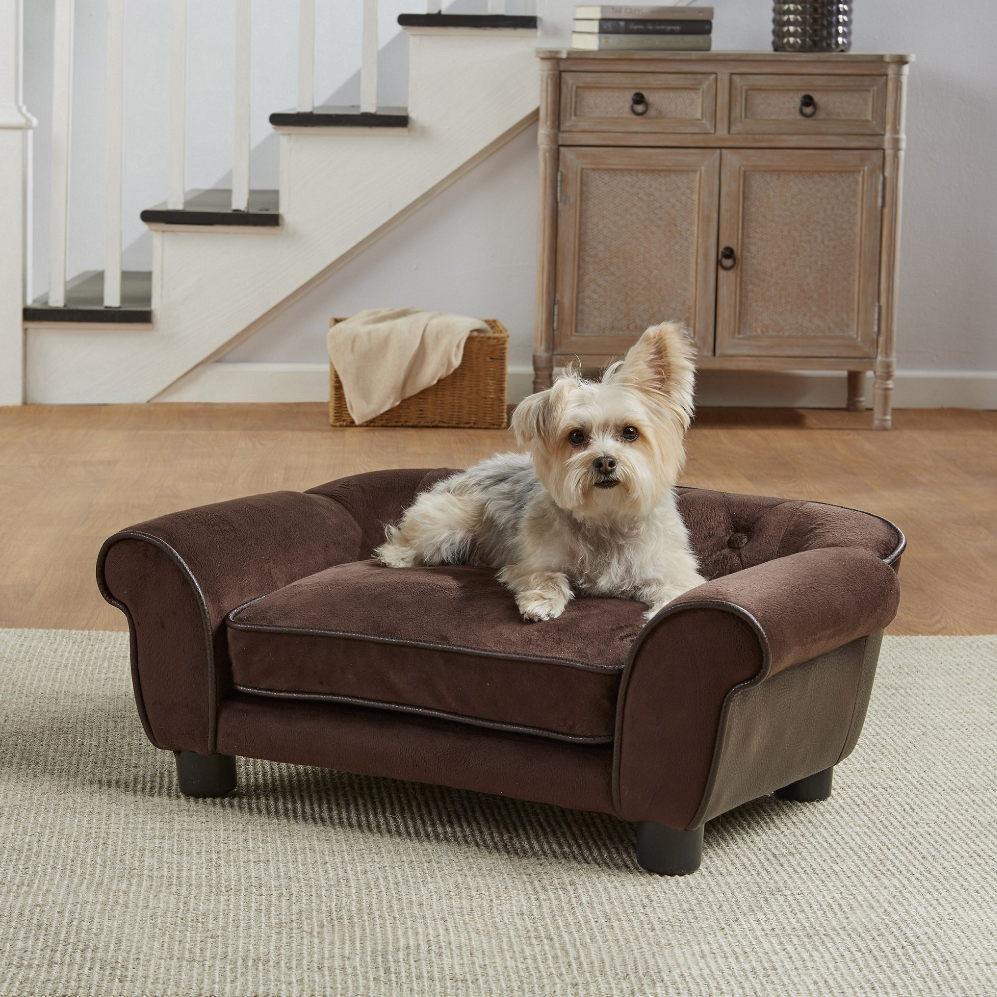 Enchanted home pet brown ultra plush cleo pet sofa petco for Dog room furniture