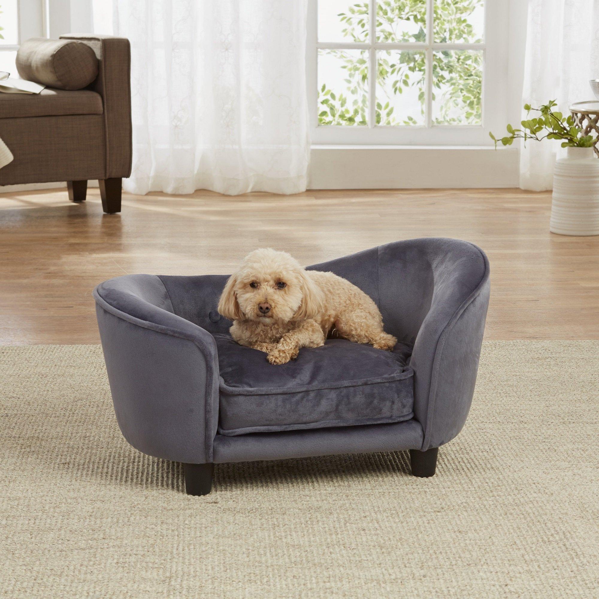 Enchanted Home Pet Dark Grey Ultra Plush Snuggle Pet Sofa