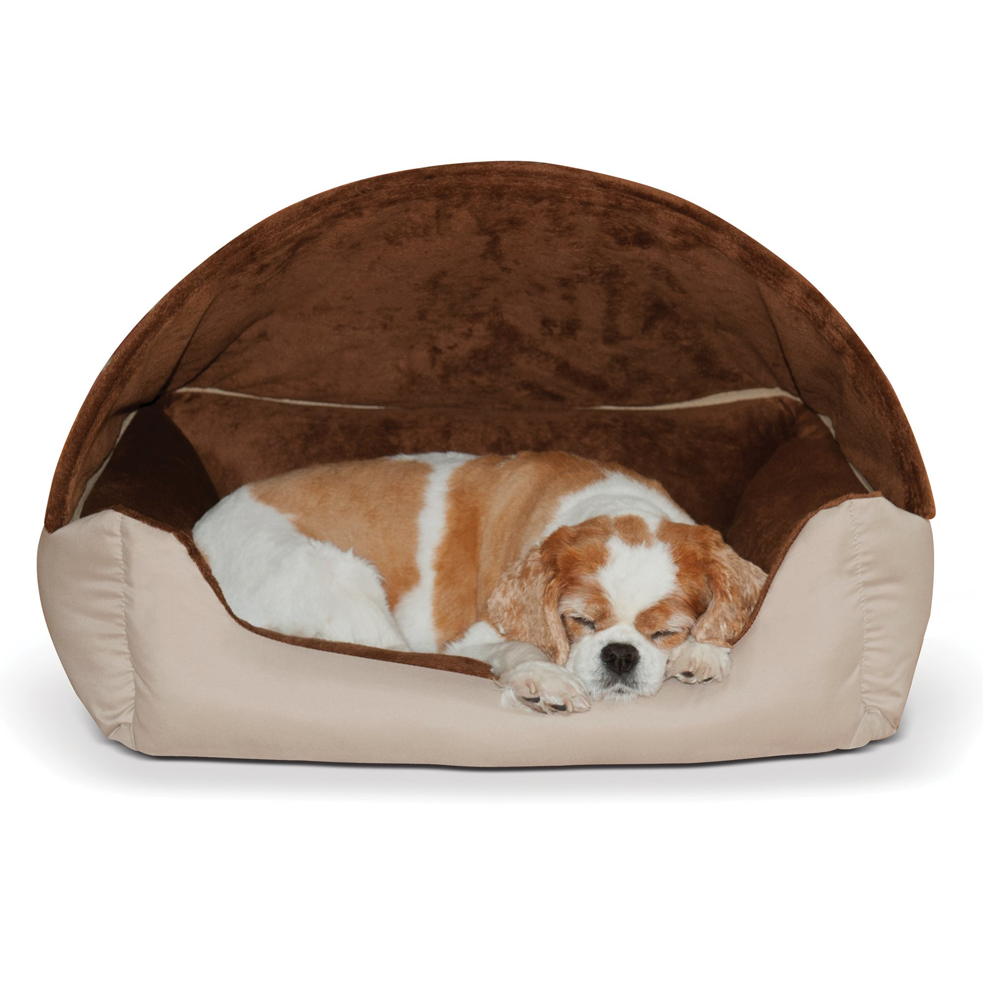K&H Brown Thermo Hooded Lounger Pet Bed