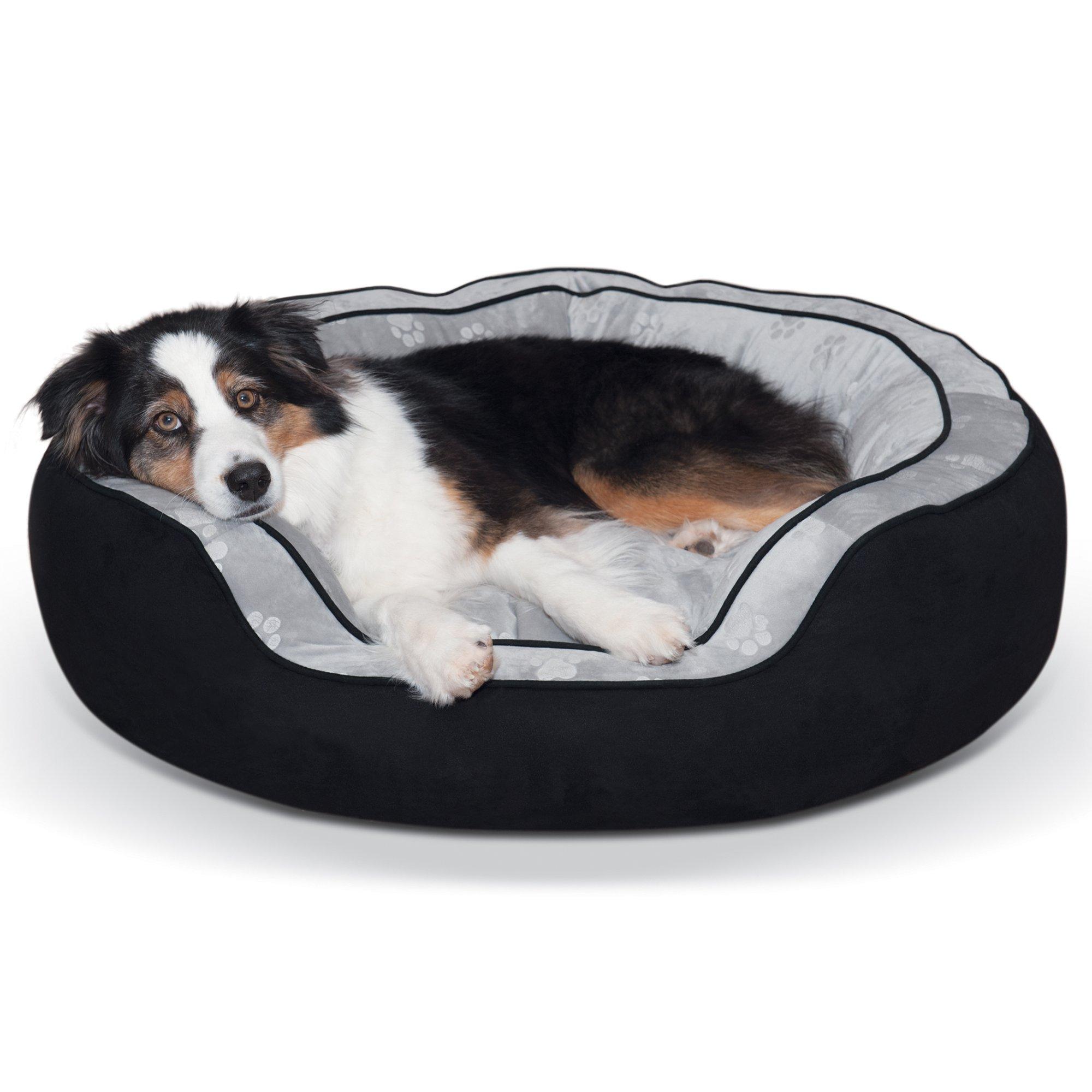 K&H Black Round N' Plush Bolster Pet Bed