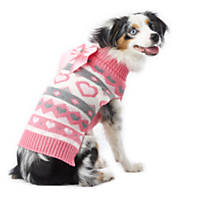 Wag-A-Tude Valentine's Day Pink & Gray Jacquard Heart Sweater