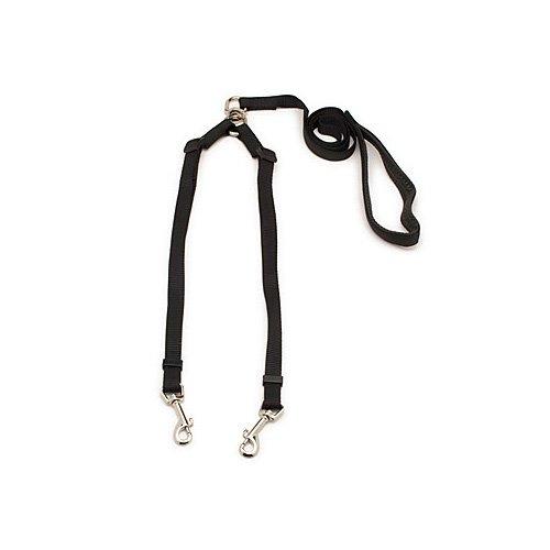 """Aspen Pet by Petmate Take Two Adjustable Leash in Black, 5/8"""" Width"""