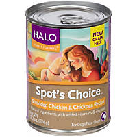 Halo Spot's Choice Grain Free Shredded Chicken & Chickpea Canned Dog Food