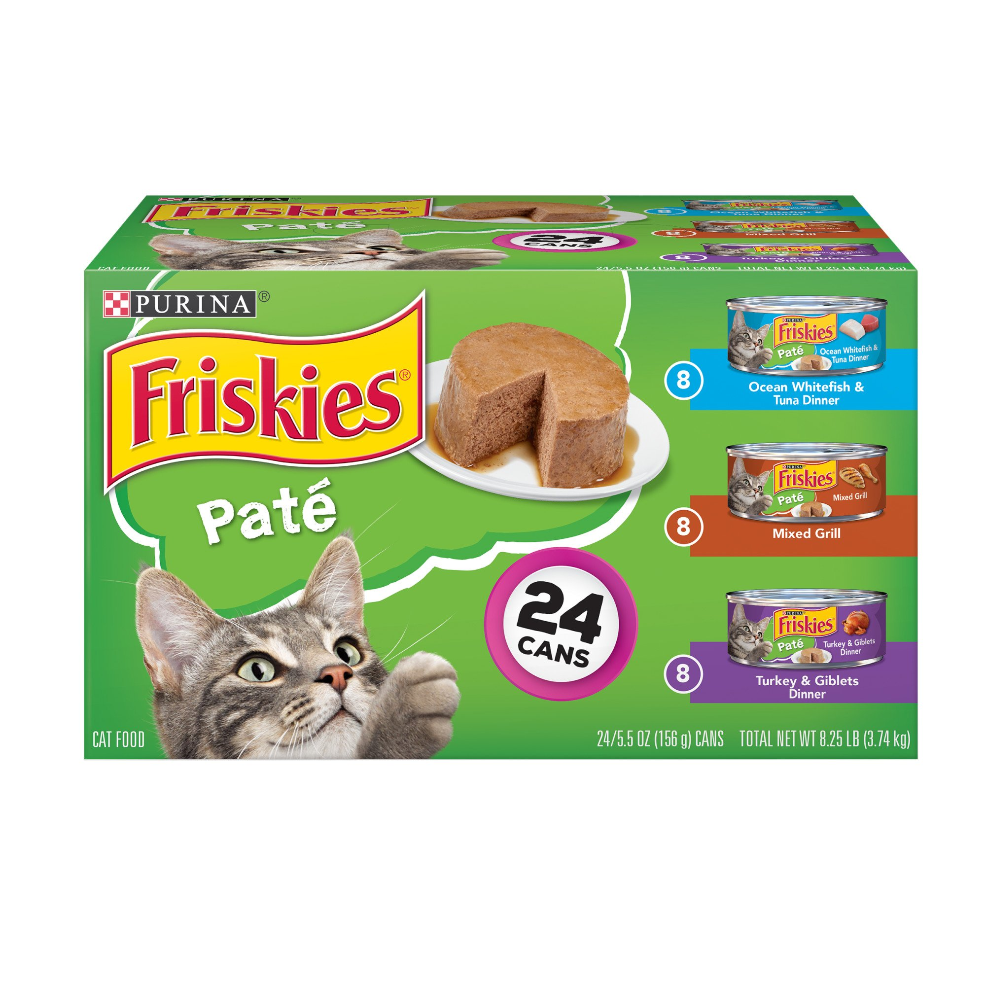 Friskies Mixed Grill, Ocean Whitefish & Tuna Dinner & Turkey & Giblets Dinner Loaf Variety Pack Canned Cat Food