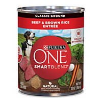 Purina ONE Wholesome Entrees Canned Dog Food, Beef & Brown Rice