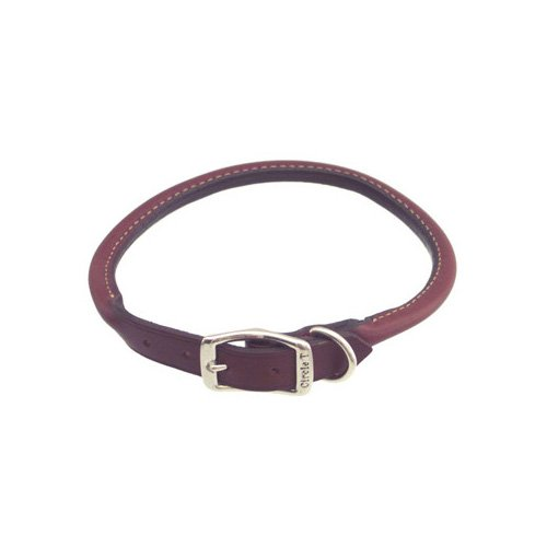Petco Rolled Leather Collars in Mahogany