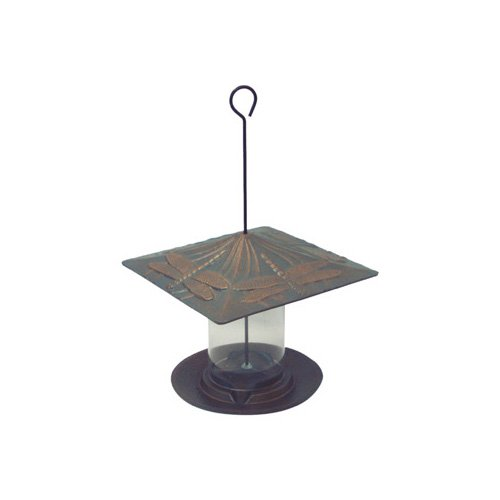Whitehall Products Dragonfly Tube Bird Feeder in Verdigris