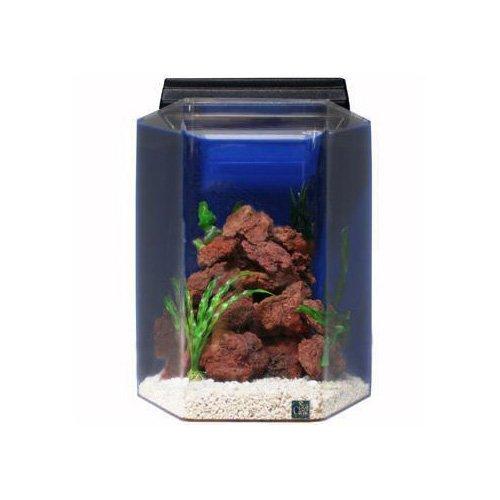 Seaclear deluxe hexagon 15 gallon aquarium combos in blue for Sea clear fish tank
