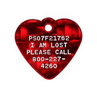 Pet Tags Lost Pet Recovery System - Red Heart