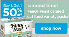 Buy 1, Get 1 50% Off Fancy Feast canned cat food variety packs - shop now