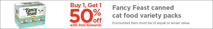 Buy 1, Get 1 - 50% off Fancy Feast cat food variety packs