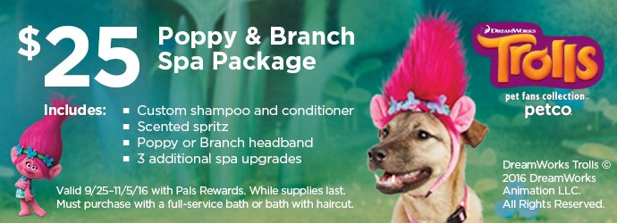 Trolls - $25 Poppy & Branch Spa Package - While supplies last