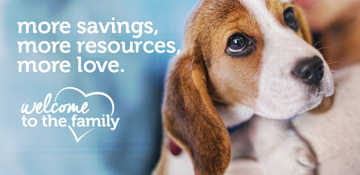 welcome to the family - more savings, more resources, more love.