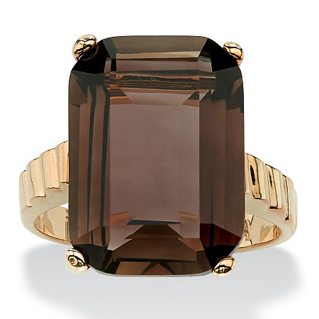 10.75 TCW Emerald-Cut Smoky Quartz Ring in 14k Gold-Plated