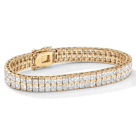 6 TCW Princess-Cut Cubic Zirconia Double-Row Tennis Bracelet in Yellow Gold Tone 7 1/4