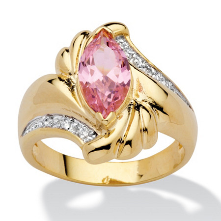 2.05 TCW Marquise-Cut Pink Cubic Zirconia Ring in 14k Gold-Plated