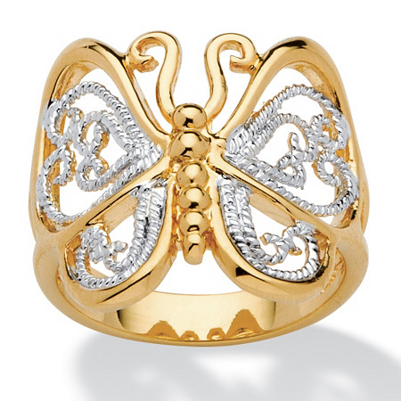 18k Yellow Gold-Plated Two-Tone Filigree Butterfly Ring