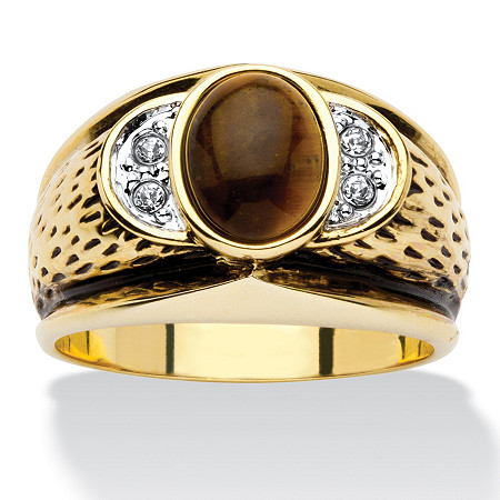 Men's Oval-Shaped Genuine Tiger's Eye Crystal Accent 14k Yellow Gold-Plated Antique-Finish Ring